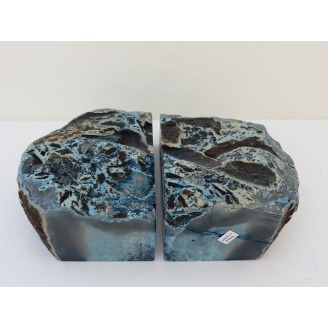 Blue Geode Bookends - A Pair - Image 6 of 7