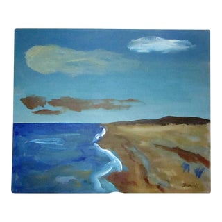 "1950 G. Daniell ""Fire Island Solitary Beach"" Original Oil on Board Painting"