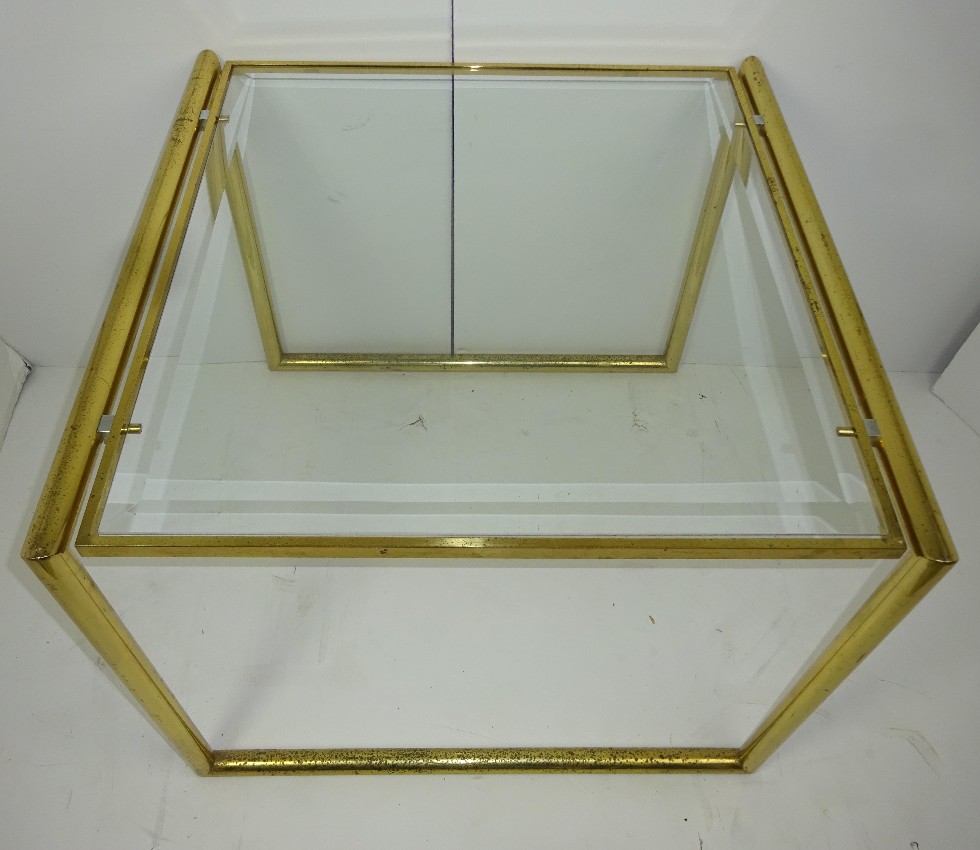 Square Brass Beveled Glass Top Table Chairish