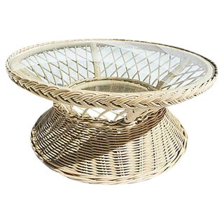 Vintage Round Wicker Glass Top Coffee Table