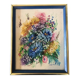 1970s Colorful Floral Bouquet Original Painting