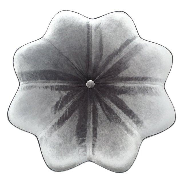 Vintage Silver Plush Velvet Star Ottoman - Image 1 of 9