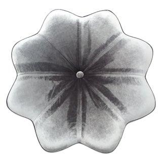 Vintage Silver Plush Velvet Star Ottoman