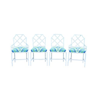 Chinoiserie Faux Bamboo Metal Chairs - Set of 4