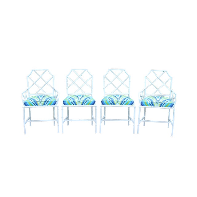 Image of Chinoiserie Faux Bamboo Metal Chairs - Set of 4
