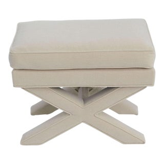 Billy Baldwin Style Upholstered X Bench