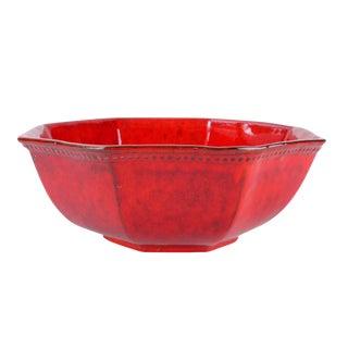 Jay Ceramic Red Glazed Octagonal Bowl Bitossi