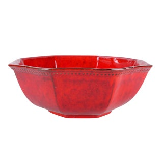 Jay Ceramic Red Glazed Octagonal Bowl Bitossi
