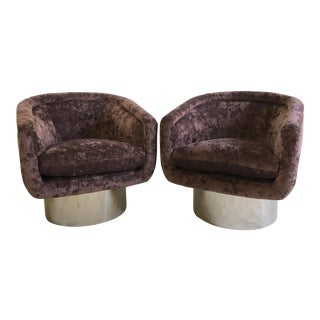 Pair of Newly Refurbished Swivel Tub Chairs by Leon Rosen for Pace Collection