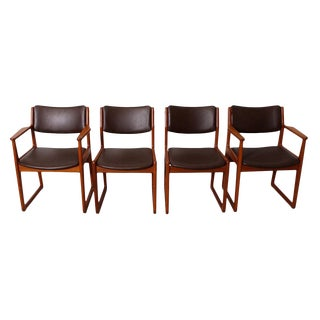 Set of 4 Danish Teak Sleigh Leg Chairs in Teak with New Upholstery