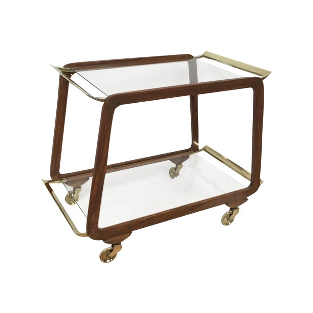 Mid-Century Austrian Walnut & Brass Trolly Cart - Image 1 of 10