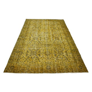 "Yellow Overdyed Turkish Rug - 5'5"" X 9'5"""