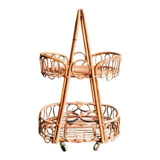 Vintage Rosenthal Netter Bamboo & Rattan Bar Cart