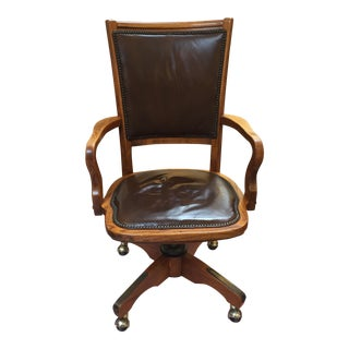 vintage oak rolling desk chair antique leather office chair