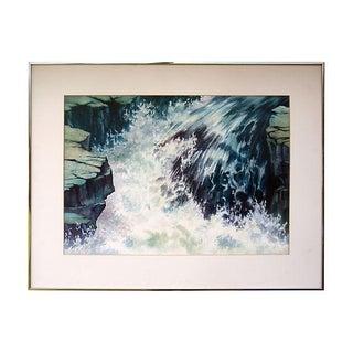 Sierra Waterfall Vintage Ann Pierce Watercolor Painting