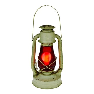 Vintage 1940's Dietz No. 2 Blizzard Lantern with Red Embossed Globe - Electrified