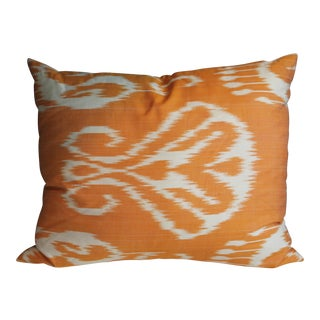 Silk Ikat Orange Pillows - A Pair