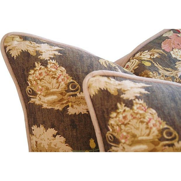 Designer French Versailles Toile Pillows - Pair - Image 5 of 7