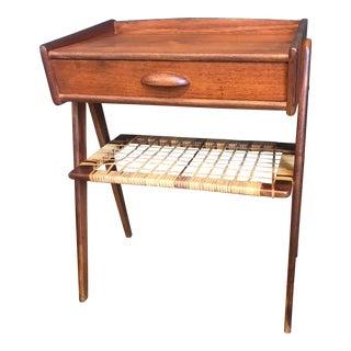 Danish Modern Teak & Cane Side Table