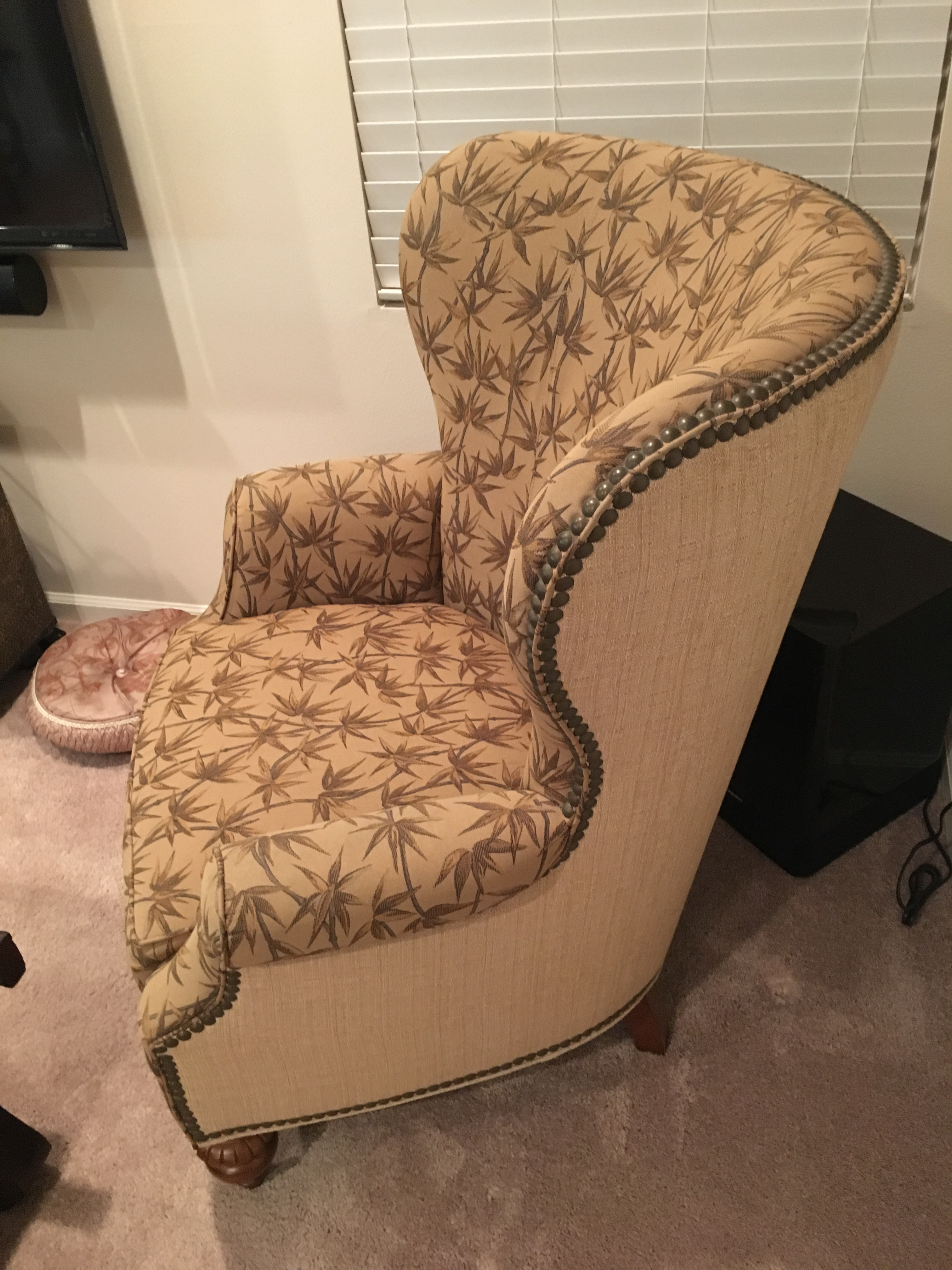 Custom Made Thomasville Wingback Arm Chair   Image 3 Of 5