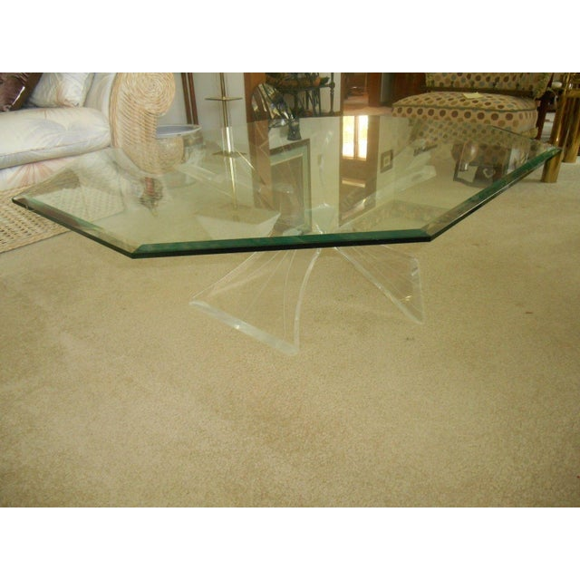 Mid-Century Lucite Base & Glass Top Cocktail Table