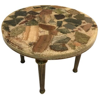 UNUSUAL ITALIAN SPECIMEN SIDE OR ACCENT TABLE WITH STONE TOP AND BRASS LEGS