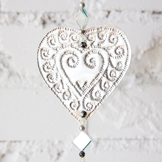 Image of Hanging Mirrored Heart Aluminum Ornaments
