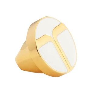 Trina Turk Oversize White Enamel Gold Ring Size 7