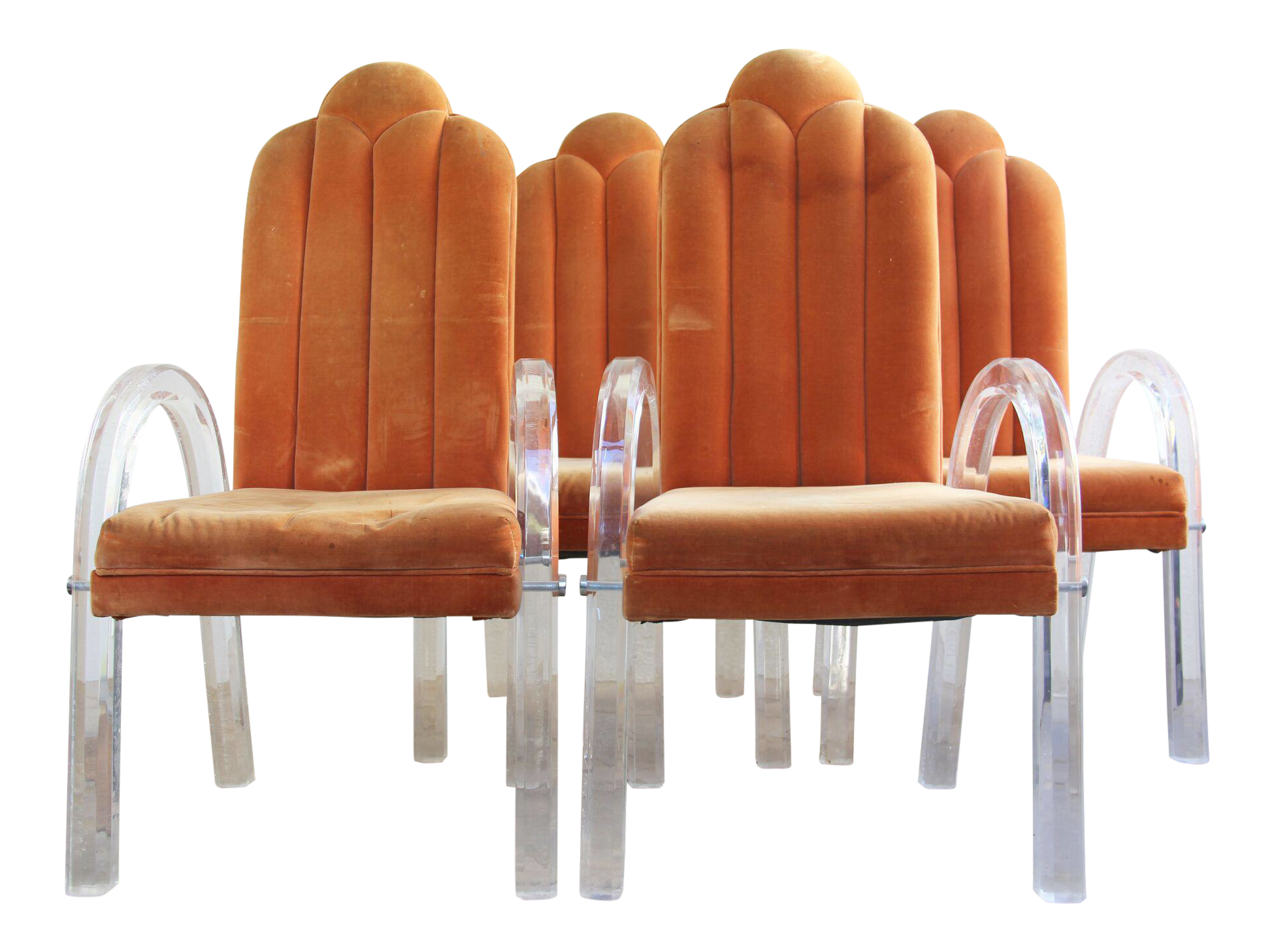 Charles Hollis Jones Art Deco Lucite Dining Chairs   Set Of 4