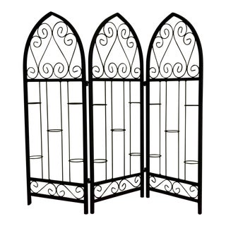 Cathedral Style Arched Wrought Iron Foldable Candle Stand / Screen