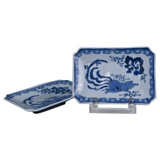 1870 Blue & White Dishes - A Pair