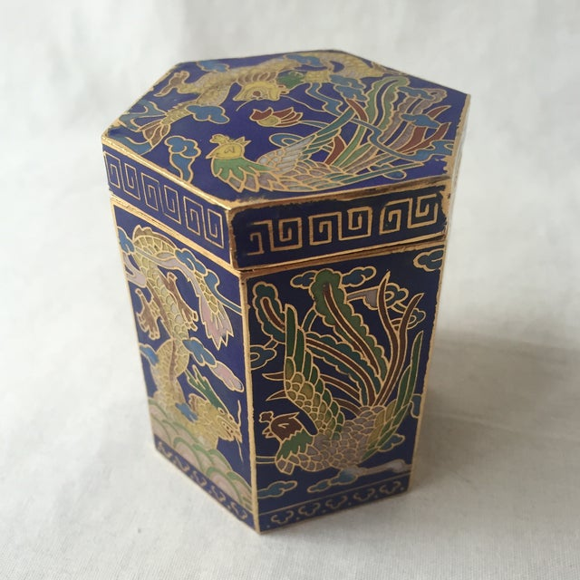 Vintage Cloisonné Hexagon Box - Image 3 of 5
