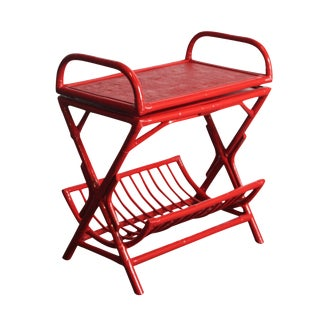 Red Bamboo Swivel Top Bar Stand