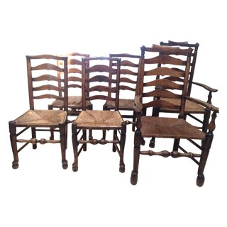 Antique Ladderback Dining Chairs - Set Of 7
