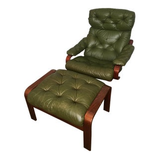 1960s Vintage Swedish Green Leather Chair & Ottoman