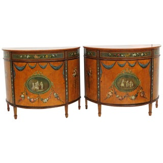 Adams Style Painted Demilune Commodes - Pair