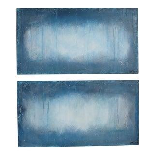 Twilight, Blue 1 & 2 Original Oil and Pastel on Panels