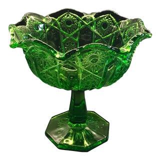 L.E. Smith Heritage Green Pressed Glass Compote, 1950s
