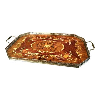 Italian Laquered Inlaid Wood and Brass Tray