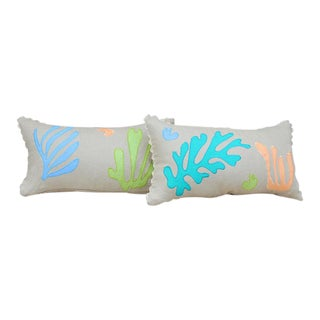 "Seaweed Applique Throw Pillow - 20"" x 12"""