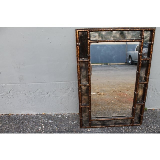 Mid-Century Faux Tortoise Wall Mirror - Image 6 of 11