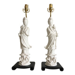 Porcelain Goddess Lamps, Pair
