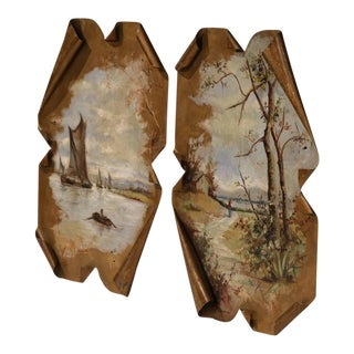 19th Century French Hand Painted Tole Wall Panels - A Pair