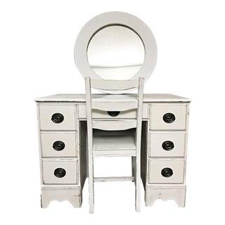Distressed Vanity Desk & Mirror - Set of 3