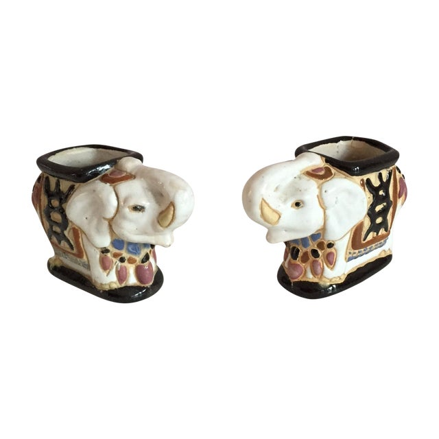 Mini Elephant Ceramic Containers - a Pair - Image 1 of 9
