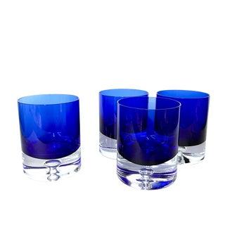 Block Crystal Cobalt Blue Old Fashioned Glasses - Set of 4