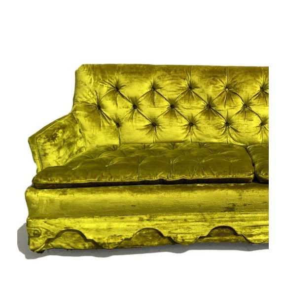 Chartreuse Velvet Tufted Sofa - Image 3 of 3