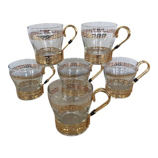 Libbey Vintage Continental Greek Key Mugs - Set of 6