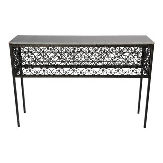 Iron Screen & Stone Console Table