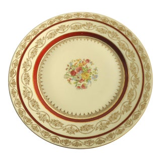 22k Gold Floral Design Dinner Plates - Set of 9
